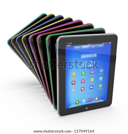 Set of Tablet PCs - stock photo