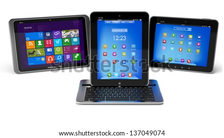Set of Tablet PCs and keyboard isolated - stock photo