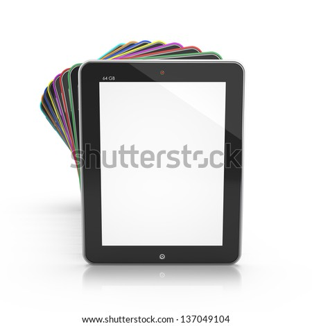 Set of Tablet PCs with a white screen isolated - stock photo