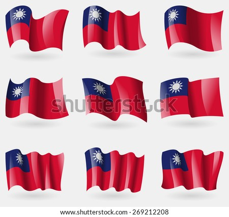Set of Taiwan flags in the air.  illustration - stock photo