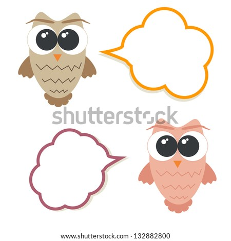 Set of talking owls with speech bubbles for sticker, tag, frame, banner etc. - stock photo