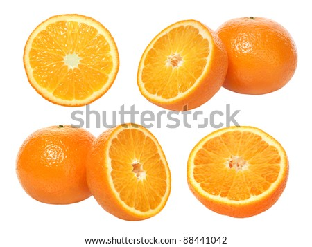 set of  tangerine on white background - stock photo