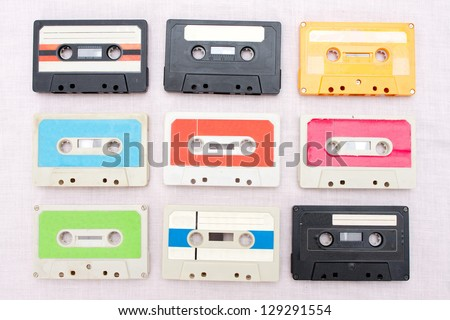 set of 9 tape cassets - stock photo