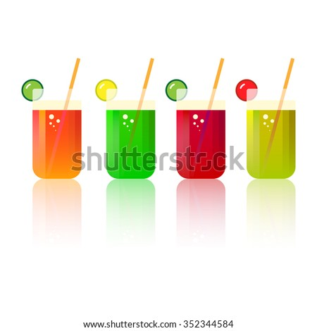 Set of tasty fresh squeezed juices, cocktails or alcoholic beverages. Natural organic drinks in glasses with straw. Lime, lemon, grapefruit. Menu element for bar, restaurant, cafe. Flat design style - stock photo