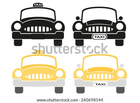 Set of taxi sign - stock photo
