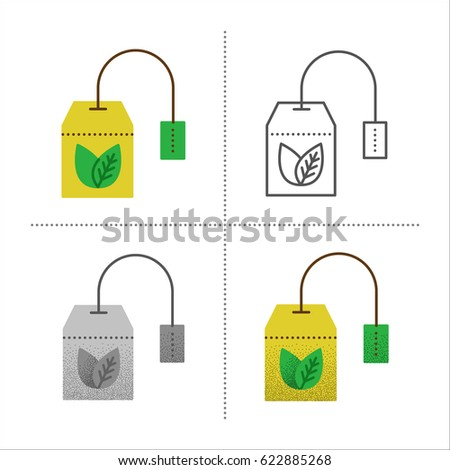 Set of tea bag  illustration in different styles: retro, flat, thin line, black and white with vintage texture. Teabag with healthy herbal, ceylon, chinese green tea. Icons isolated on white