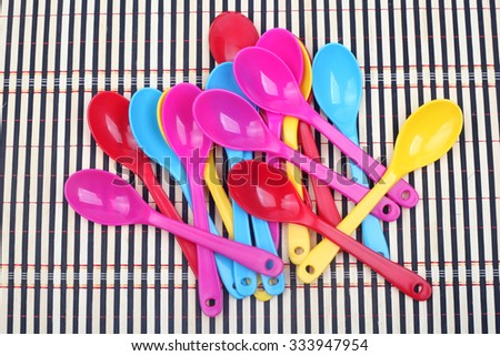 Set of Tea Colored Spoons - stock photo