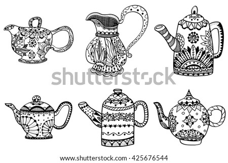Set of Teapot isolated art illustration. Hand drawn art made of flowers and Leaves.