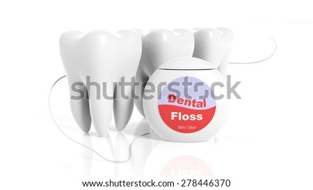 Set of teeth with dental floss isolated on white background - stock photo
