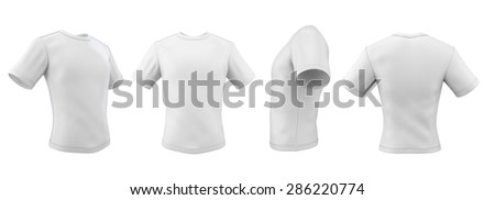 Set of template t-shirts from different angles isolated on white background. 3d illustration. - stock photo