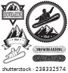 set of templates badges for extreme sport, snowboarding - stock photo