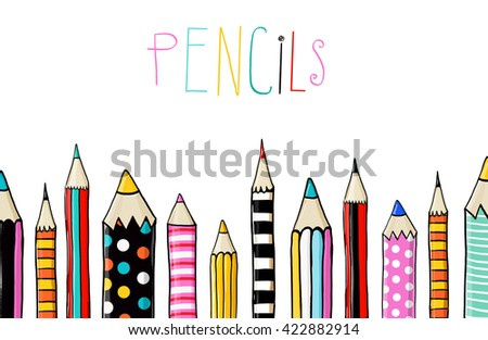 Set of ten colored pencils on white background in sketch fun style.line of colored pencils.Back to school. Pencils background. template, color, book, greeting, school, university, colored, blank,  , - stock photo