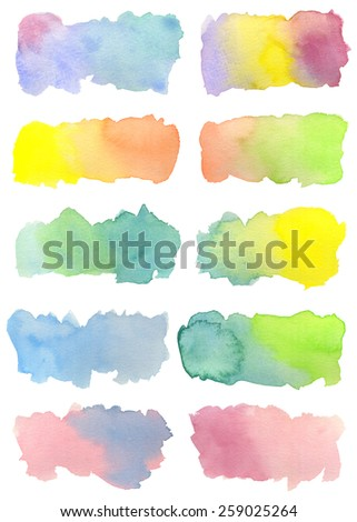 Set of ten hand-painted watercolor labels in bright colors with pretty gradations. Rainbow hues reminiscent of Spring. White background. Hand drawn using transparent watercolor paint on paper. - stock photo
