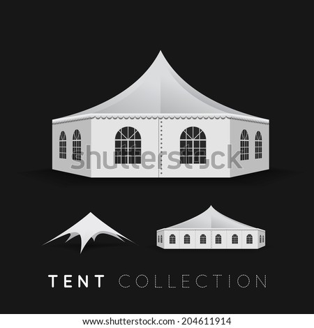 Set of tents. Illustration on dark background - stock photo