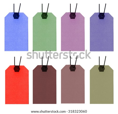set of textile labels of different color on white background