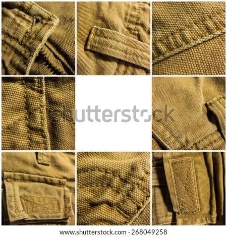 set of textures khaki jeans - stock photo