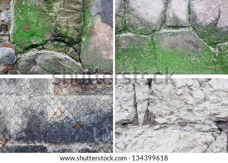 Set of textures of  stone - stock photo