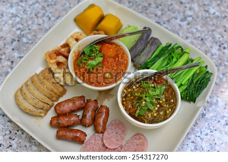 Set of Thai foods Northern style - stock photo