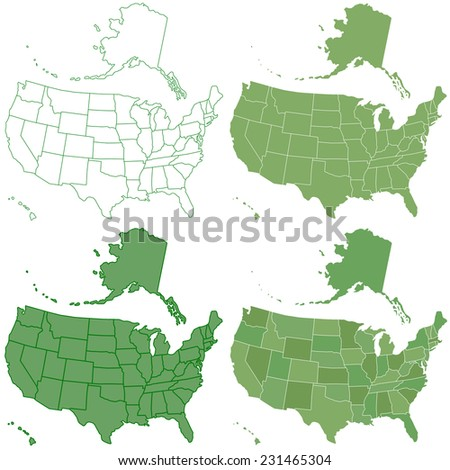 Set of the contour USA maps. All objects are independent and fully editable  - stock photo