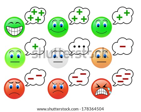 Set of the emoticons icon of thinking concept - stock photo