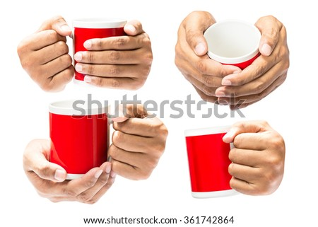 Set of the human hand hold on coffee cup isolated in white background - stock photo