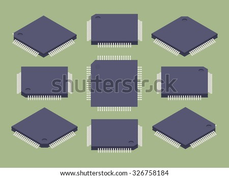 Set of the isometric microchips. The objects are isolated against the green background and shown from different sides - stock photo