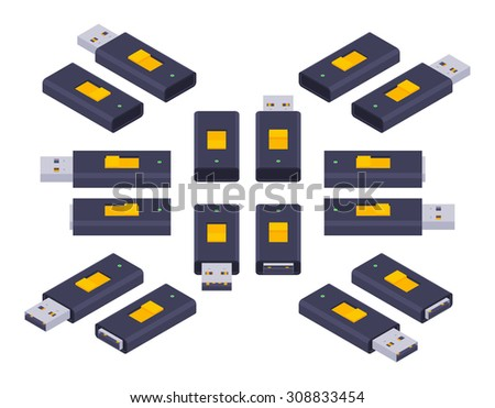Set of the isometric USB flash-drives. The objects are isolated against the white background and shown from different sides - stock photo