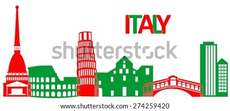 Set of the main attractions and architecture of Italy .  - stock photo