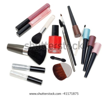 Set of the make-up with mirror on white background