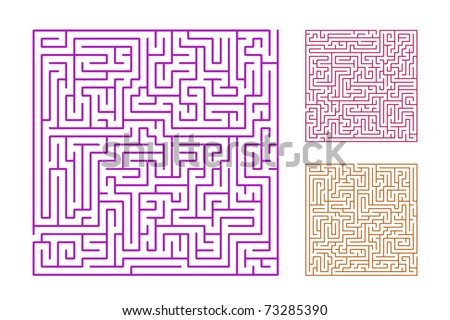 set of the 3 mazes isolated on white background