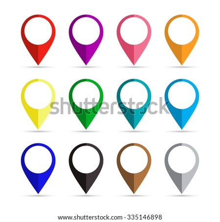 set of the multicolored paper map point for websites, infographic, business or applications for smartphones and tablets, icon, Map markers with circles with blank space. Flat design. Raster version.  - stock photo