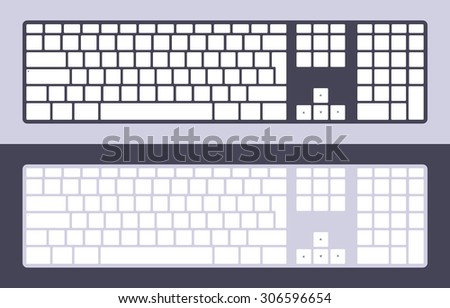 Set of the PC keyboards with blank keys. Illustration suitable for advertising and promotion - stock photo