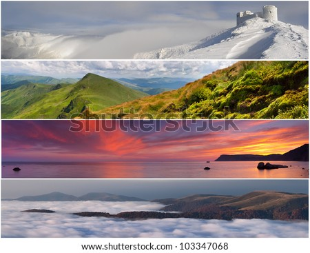 Set of the 4 seasons landscape for banners - stock photo
