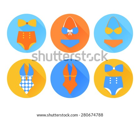 Set of the swimming suit flat icons  - stock photo