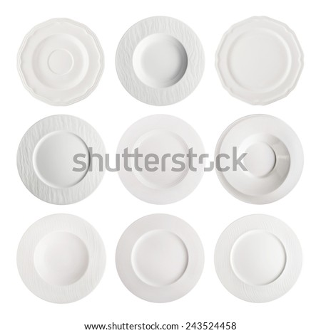 Set of the white plates isolated on white. - stock photo