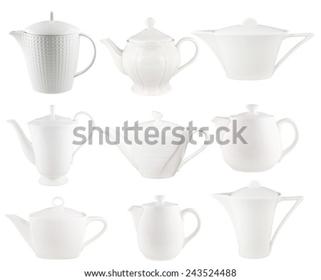 Set of the white teapots isolated on white. - stock photo