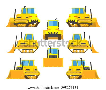 Set of the yellow bulldozers. The objects are isolated against the white background and shown from different sides - stock photo