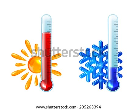 Set of thermometers with red and blue indicator isolated on white background, illustration. - stock photo