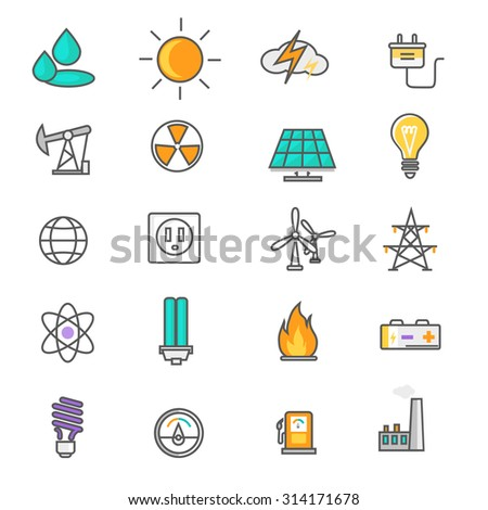 Set of thin lines icons energy and resource icon set power and energy production, electric industry, natural energy sources. Flat thin line icons modern design style. Raster version - stock photo