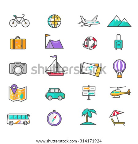 Set of thin lines icons of traveling, planning a summer vacation, tourism and journey objects and passenger luggage in flat design. Different types of travel. Business travel concept. Raster version - stock photo