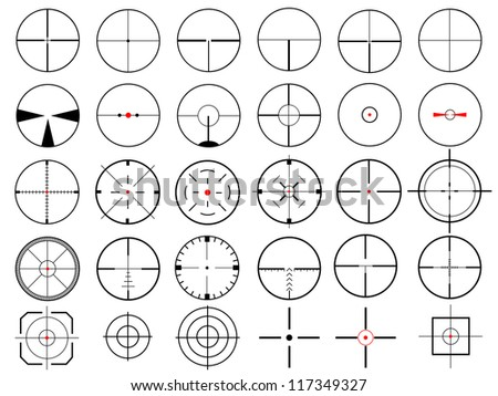 Set of thirty vector cross hairs, isolated on white, raster copy