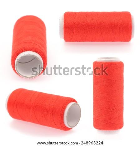 Set of threads isolated on white background - stock photo