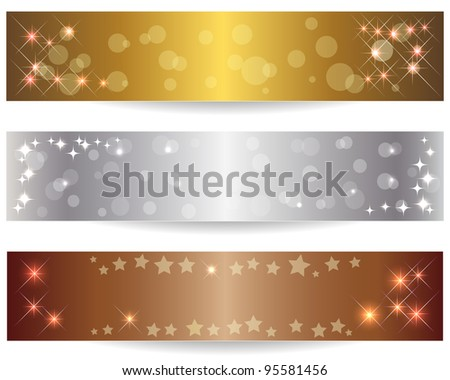 Set of three abstract banners with shining stars. Raster version.