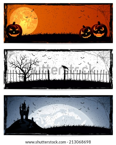 Set of three banners with Halloween decoration, illustration. - stock photo