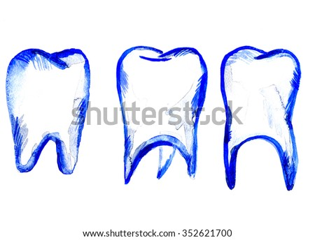 Set of three beautiful snow-white tooth teeth painted by blue color watercolor paint on white background freehand illustration dental decor medical banner freshness decor backdrop, horizontal picture - stock photo