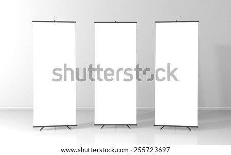 Set of three blank roll up posters - vertical billboard for text