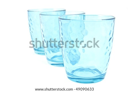 set of three blue cups