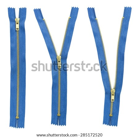 Set of three blue zipper isolated on white background - stock photo