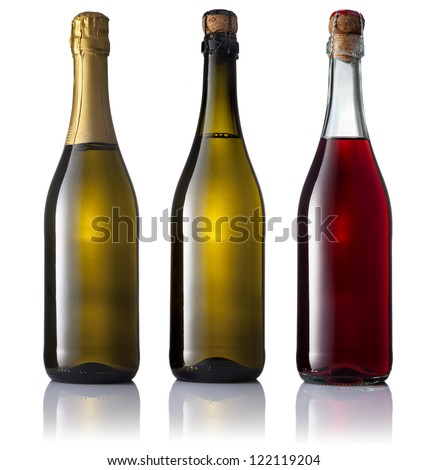 Set of three bottles of sparkling wine, two white and one pink, isolated on a white background. - stock photo