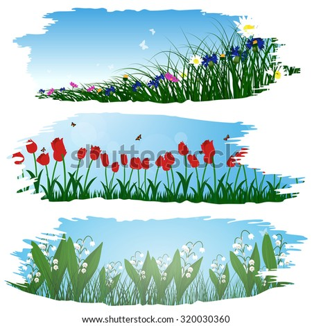 Set of three brushstroke frames with flower meadow background.  Raster illustration.